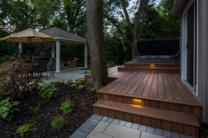 Composite deck with linear lights
