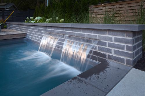 Modern pool waterfall